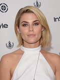 Actress Rachael Taylor brought some serious attention to her eyes with apricot shadow and bold brows.