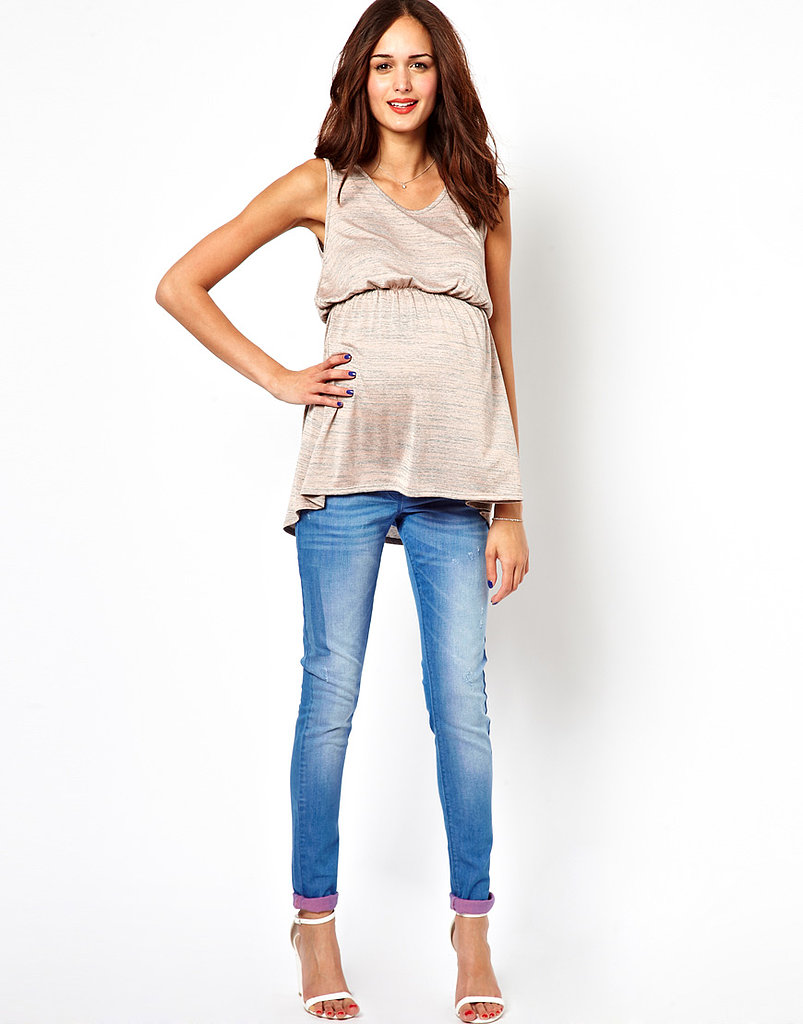 Asos Maternity Ridley Ultra Skinny Jean With Pink Turnups