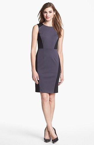 Halogen Colorblock Ponte Sheath Dress (Regular & Petite) Grey/ Black 0