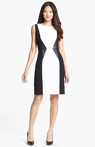Calvin Klein Faux Leather Trim Colorblock Sheath Dress (Regular & Petite) Eggshell Multi 8