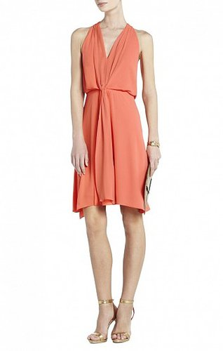 BCBG MARISA KNEE-LENGTH HALTER DRESS