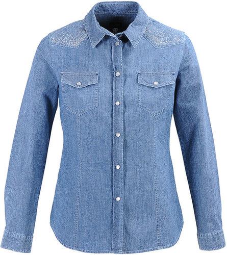 Armani Jeans Chemise en jean et strass aux épaules