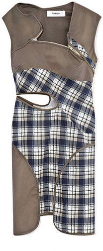 Chalayan Cutout Panelled Plaid And Khaki Dress With Zipper Detail