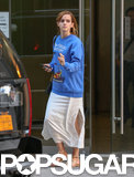 Emma Watson left an office building in NYC.