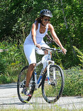 First Lady Michelle Obama got in some exercise during a family bike ride on Martha's Vineyard.