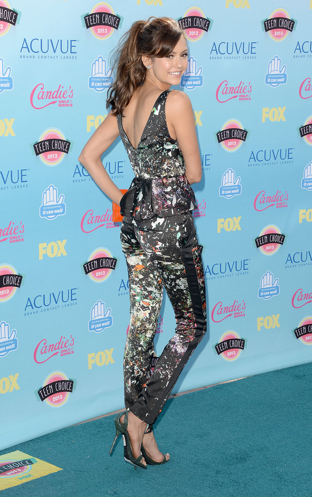 Also at the awards, Nina Dobrev skipped a mini of any sort in favor of a printed pantsuit from J.Mendel.