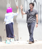 Zach Braff and his costar painted over graffiti on the LA set of Wish I Was Here on Friday.