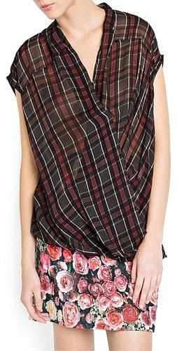 Plaid wrap blouse