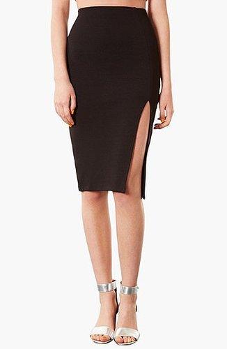 Topshop Textured Pencil Skirt Black 8
