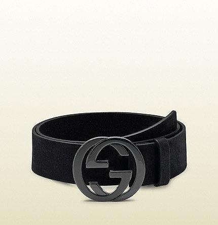 black leather belt with interlocking G buckle