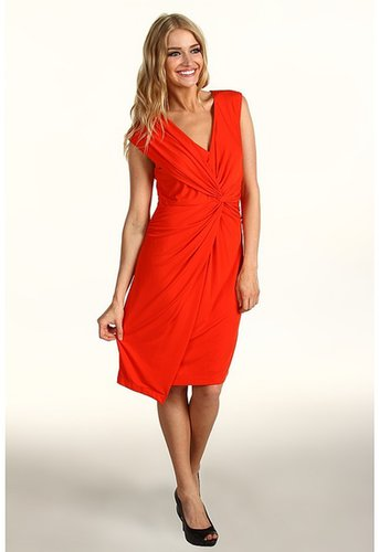 Donna Morgan - Cap Sleeve Knot Front Jersey Dress (Hot Coral) - Apparel