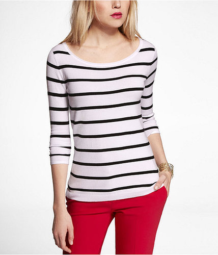 Striped Ruched Sleeve Fine Gauge Sweater