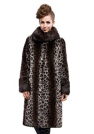 Fashion quality faux rabbit fur and faux raccoon fur collar long coat free shipping