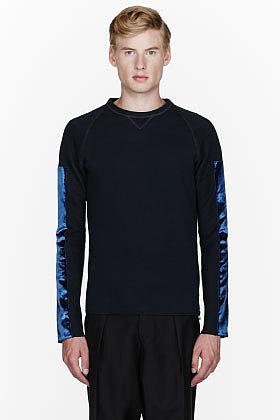 LANVIN Black velvet-trimmed sweatshirt