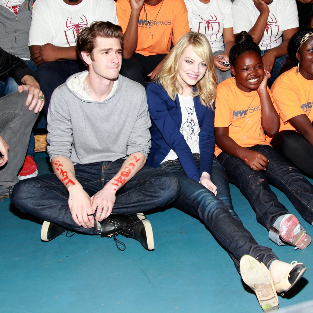 Emma Stone and Andrew Garfield put their charitable sides on display at the Be Amazing volunteer initiative in Brooklyn in June 2012.