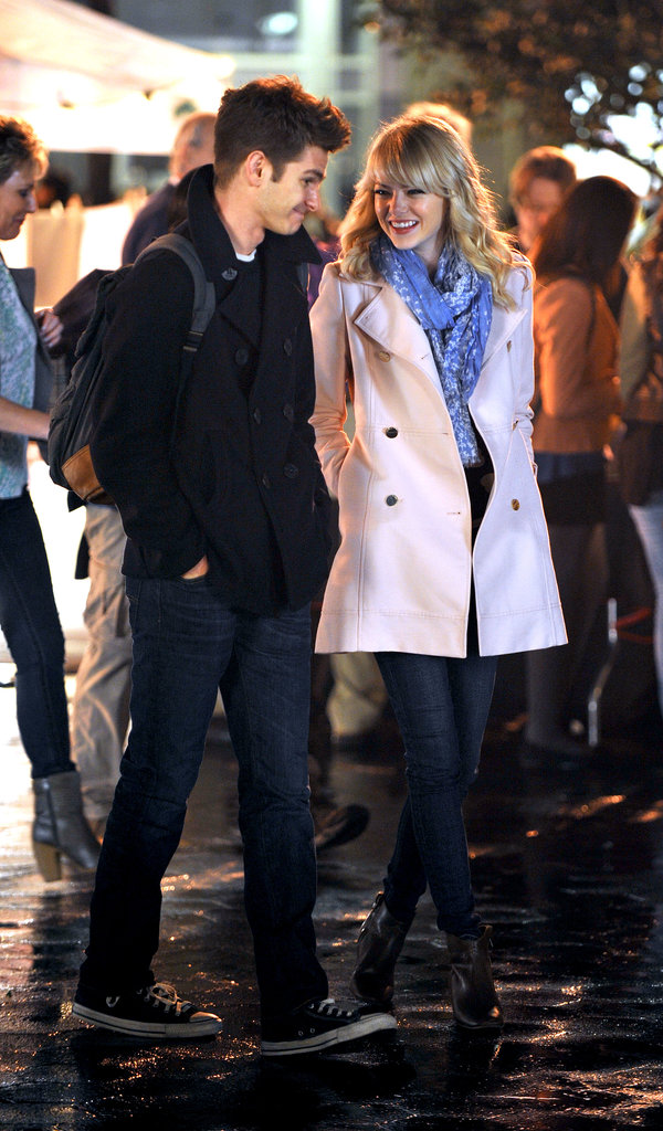 Emma Stone gave Andrew Garfield a loving look while filming for The Amazing Spider-Man 2 in NYC in April 2013.