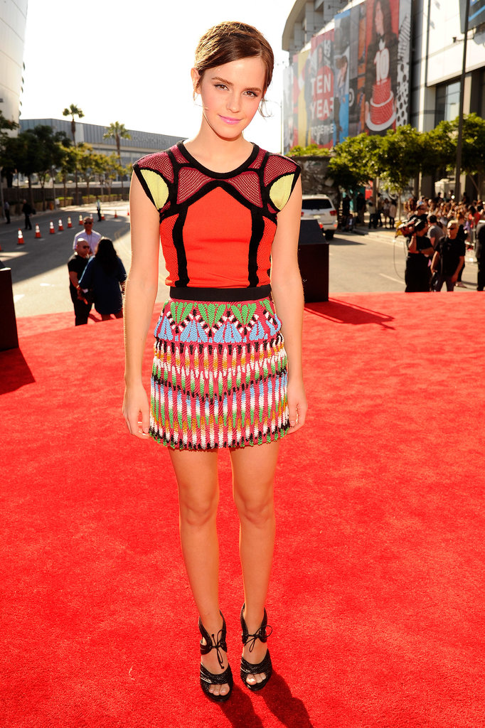 At the 2012 VMAs, Emma Watson went for a colorful look.