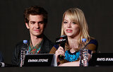 Andrew Garfield watched adoringly as Emma Stone spoke at The Amazing Spider-Man press conference in South Korea in June 2012.