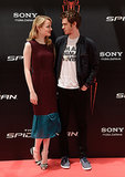 Emma Stone and Andrew Garfield shared a red carpet moment in Madrid in June 2012.