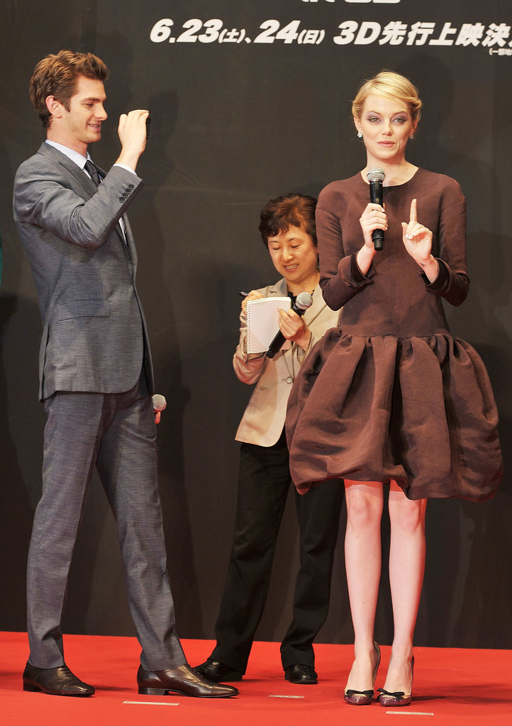 Andrew Garfield snapped a cute photo of Emma Stone during the Tokyo premiere of The Amazing Spider-Man in June 2012.