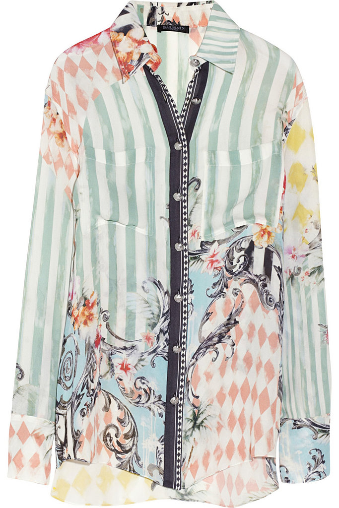 This printed silk shirt ($634, originally $1,585), with its stripes, diamonds, florals, and colors may seem like a strong look (because it is!). Our remedy? White jeans will perfectly compliment the heavily patterned shirt.