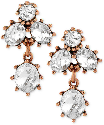 Betsey Johnson Earrings, Antique Rose Gold-Tone Crystal Cluster Stud Earrings