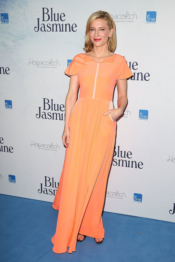 Cate Blanchett attended the Blue Jasmine premiere in Sydney in a floaty orange gown.