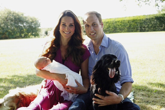 Kate Middleton and Prince William posed for the first official portrait with Prince George in August 2013. The snap was taken by Kate's father, Michael Middleton, and included the couple's dog, Lupo, and the Middletons' family pet, Tilly, in the background.
