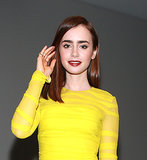 Lily showed that deep lips could be casual, if paired with the right hairstyle, during the New York leg of her tour for The Mortal Instruments.