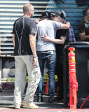 Robert Pattinson hugged a crew member on his Maps to the Stars set in LA.