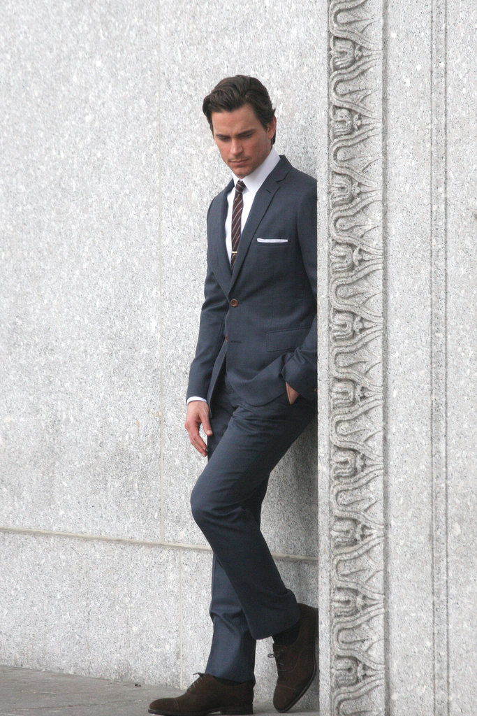Matthew Bomer wore a dapper suit while filming White Collar in NYC on Monday.