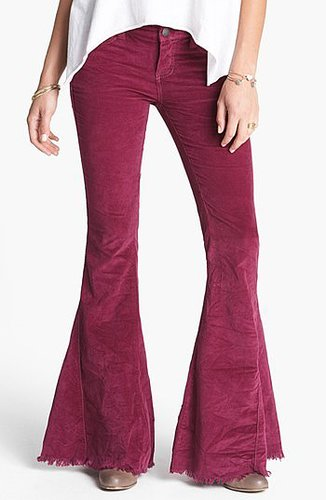 Free People Super Flare Leg Corduroy Pants Womens Mulberry Size 31 31