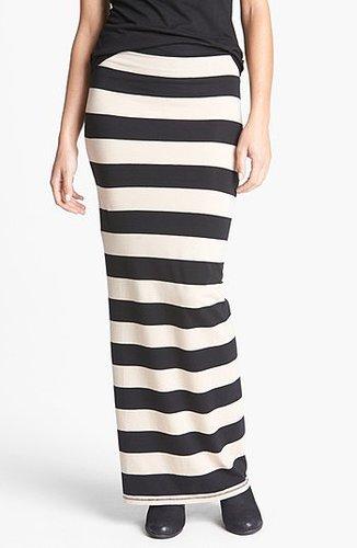 Free People Stripe Column Skirt Black/ Tan Medium