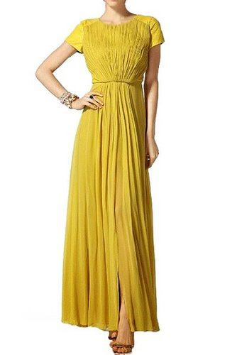 BCBG YELLOW LEATHERINSET GOWN