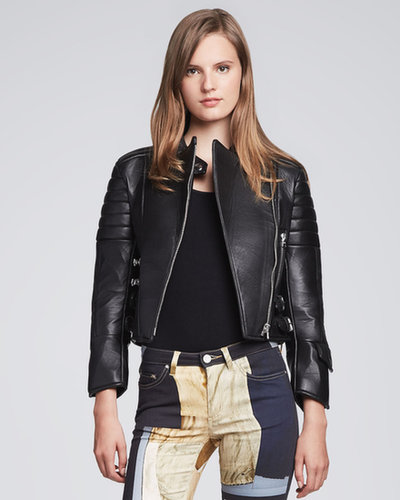 Acne Asymmetric-Zip Leather Moto Jacket, Black