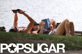 Jennifer Lawrence laid on Nicholas Hoult's stomach while she read.