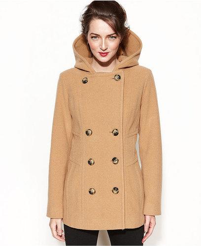 Jason Kole Coat, Double-Breasted Hooded Wool-Blend Pea Coat