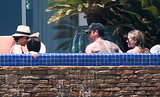 Jennifer Aniston and Justin Theroux soaked in the sun with Jason Bateman and his wife in the pool.