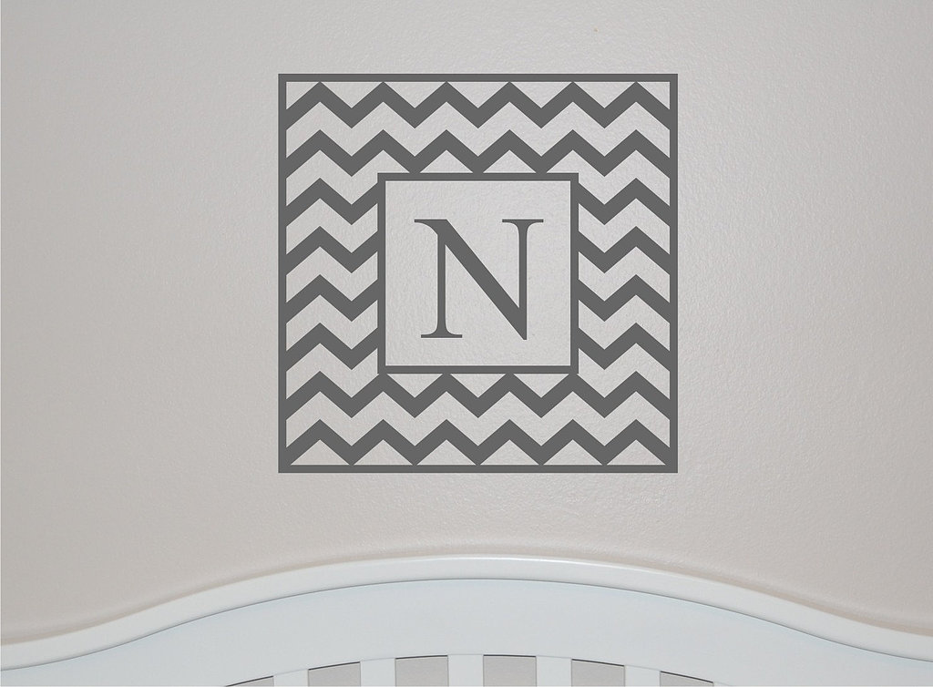 Make it personal with this classic chevron single initial wall decal ($32).