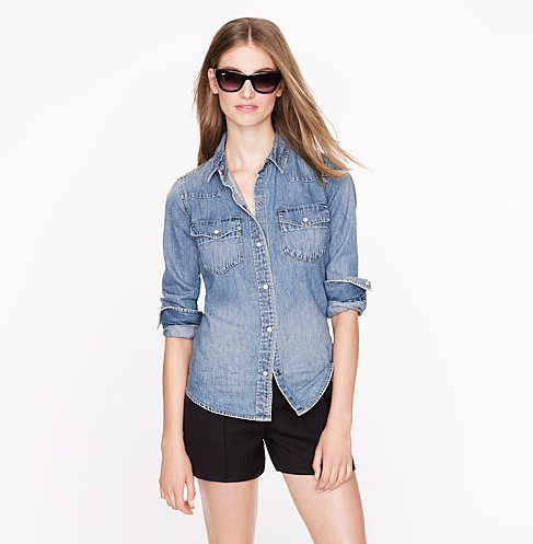 J.Crew's Western denim shirt ($98) is a year-round staple that can be paired with anything, from a pair of jeans to a full skirt.
