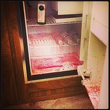 That's no horror scene; Vanessa Hudgens lost a bottle of beet juice.  Source: Instagram user vanessahudgens