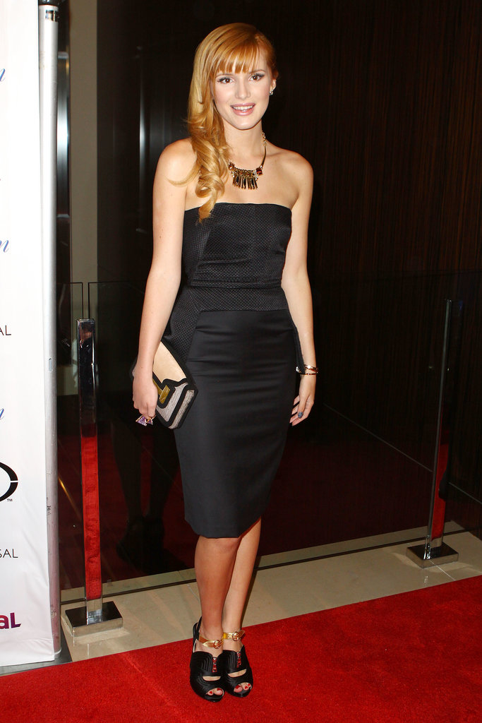 For the Imagen Awards, Bella Thorne rocked a sleek strapless LBD and accessories with a hint of gold.