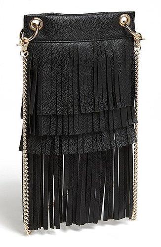 BP. Layered Fringe Crossbody Bag (Juniors) Black One Size