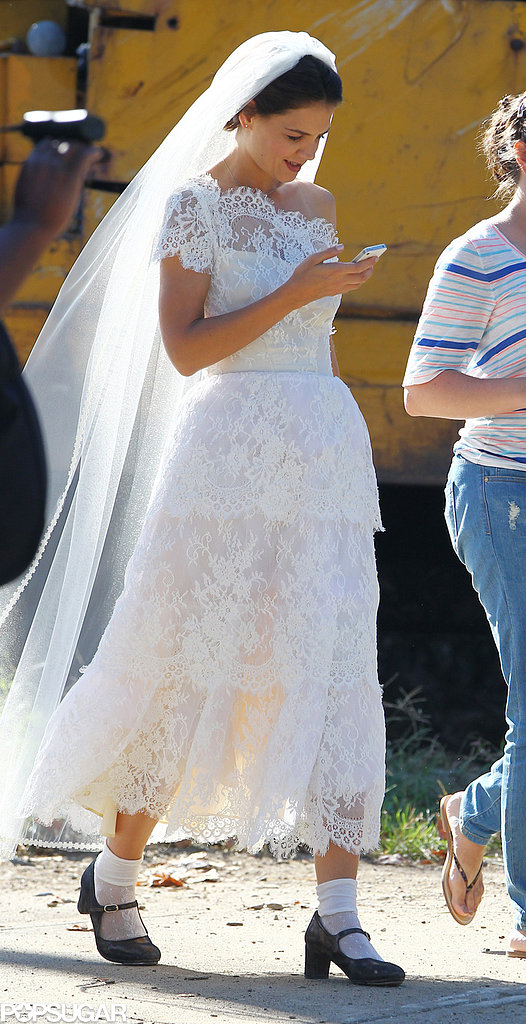 Katie Holmes wore a wedding dress on set in Ohio.