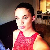 Sara Sampaio's pretty pink pout made its debut on Instagram, long before the show. Source: Instagram user sarasampaio