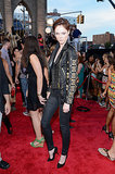 Coco Rocha took her look to rocker heights in a black embellished leather Fausto Puglisi biker jacket and slim black jeans for the VMAs.