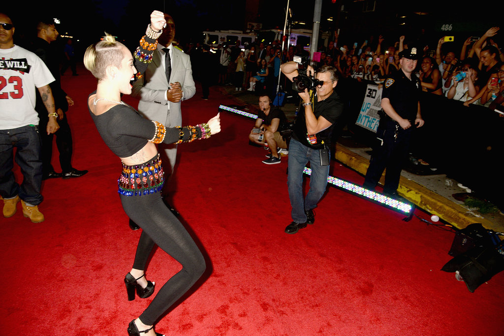Miley Cyrus was twerking on the red carpet.