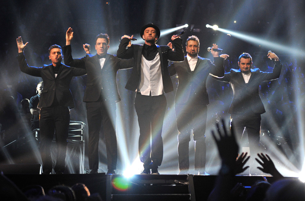 "Justin Timberlake was joined by the rest of *NSYNC to perform ""Girlfriend"" and ""Bye Bye Bye."""
