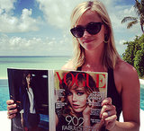 Reese Witherspoon caught up on her reading with Vogue's September issue during a getaway to the Bahamas.  Source: WhoSay user RWitherspoon