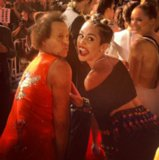 Before taking the stage, Miley Cyrus mugged for the red carpet cameras with Richard Simmons. Source: Instagram user mileycyrus